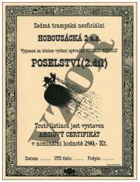Akciový certifikát sedmé trampské Hobosácká a.s.