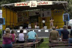 Odpolední blok muziky zahájila kapela Jauvajs. Diváci se začali vsázet, při které kapele spadne déšť ze zlostně vypadajících mraků.