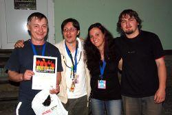 Hluční sousedé, zleva: JiříMartinů, Jiří Krumpoch, Céline Bossu a Ondřej Růčka