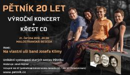Pozvánka na koncert se současným Pětníkem - Standou Kneiflem, Janou Perníkovou - Soukupovou, Honzou Hučínem, Alenou Čápovou a se skupinou Na vlastní uši band.